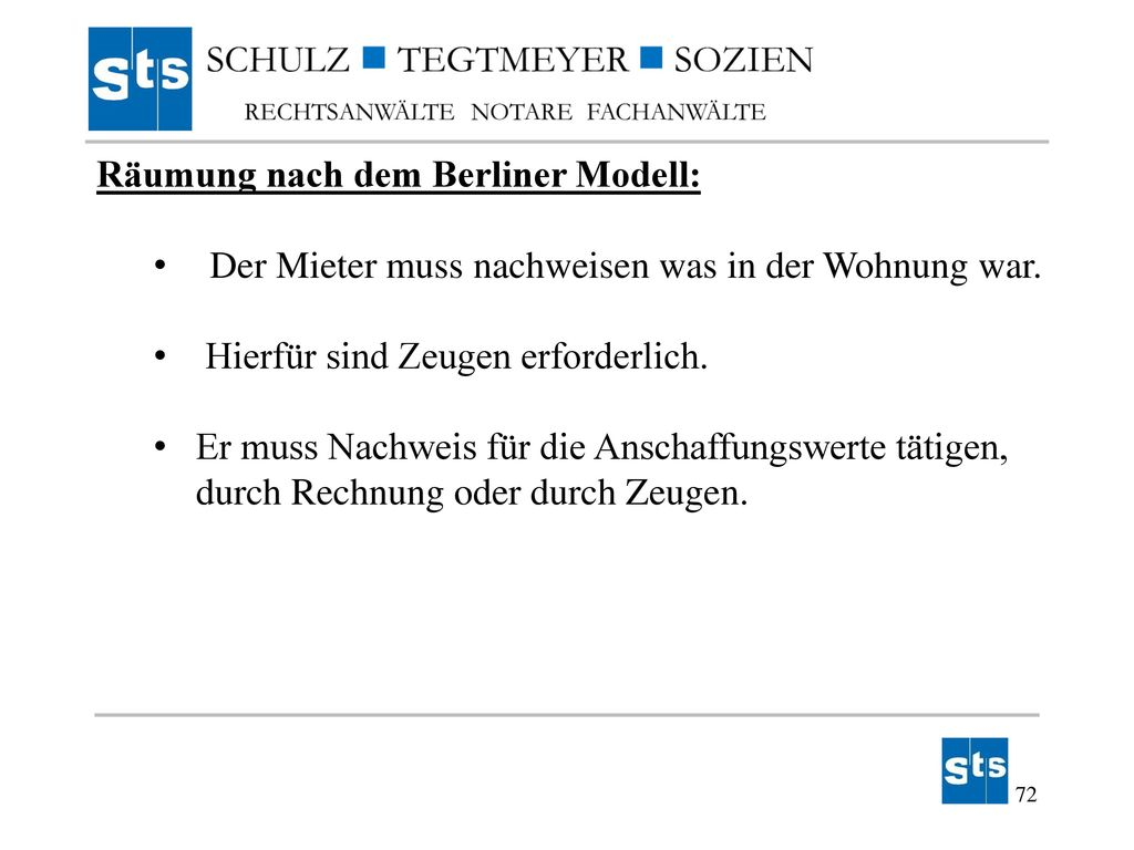 Räumung nach dem Berliner Modell: