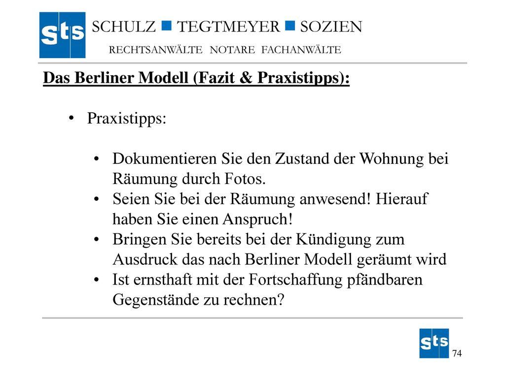 Das Berliner Modell (Fazit & Praxistipps):