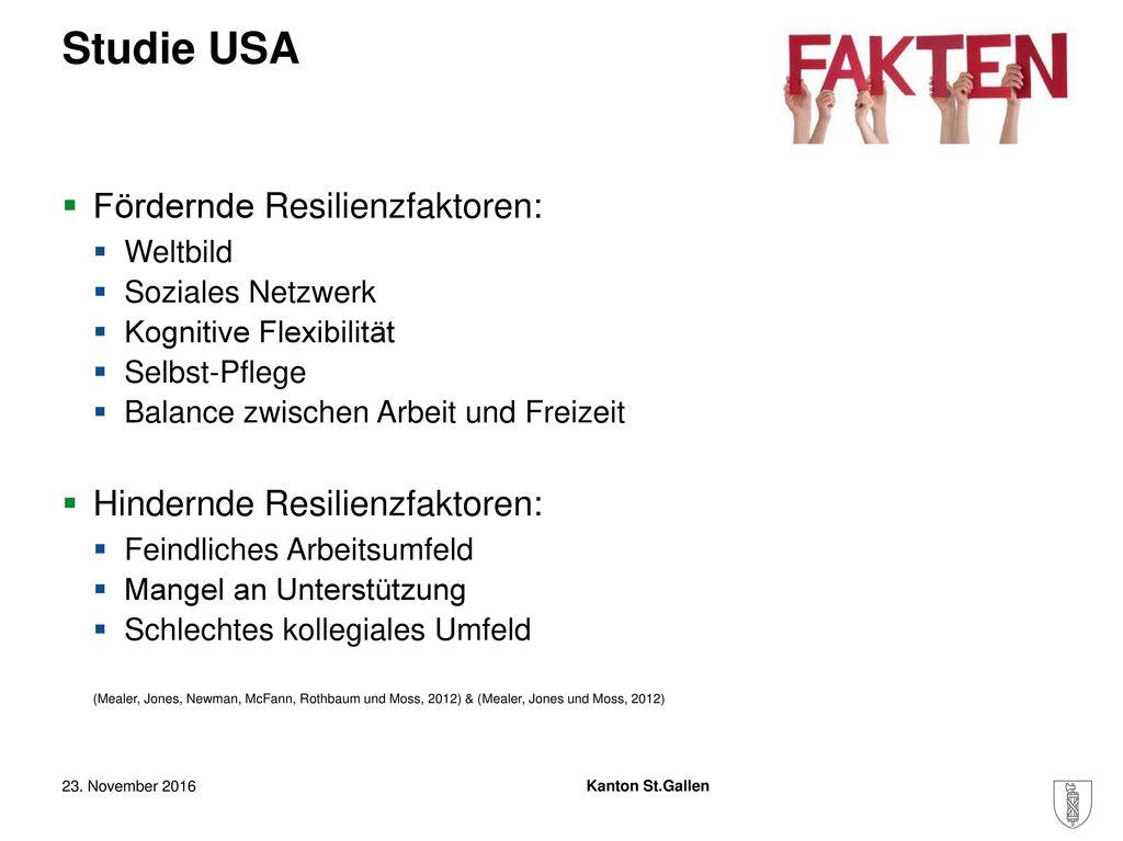 Studie USA Fördernde Resilienzfaktoren: Hindernde Resilienzfaktoren:
