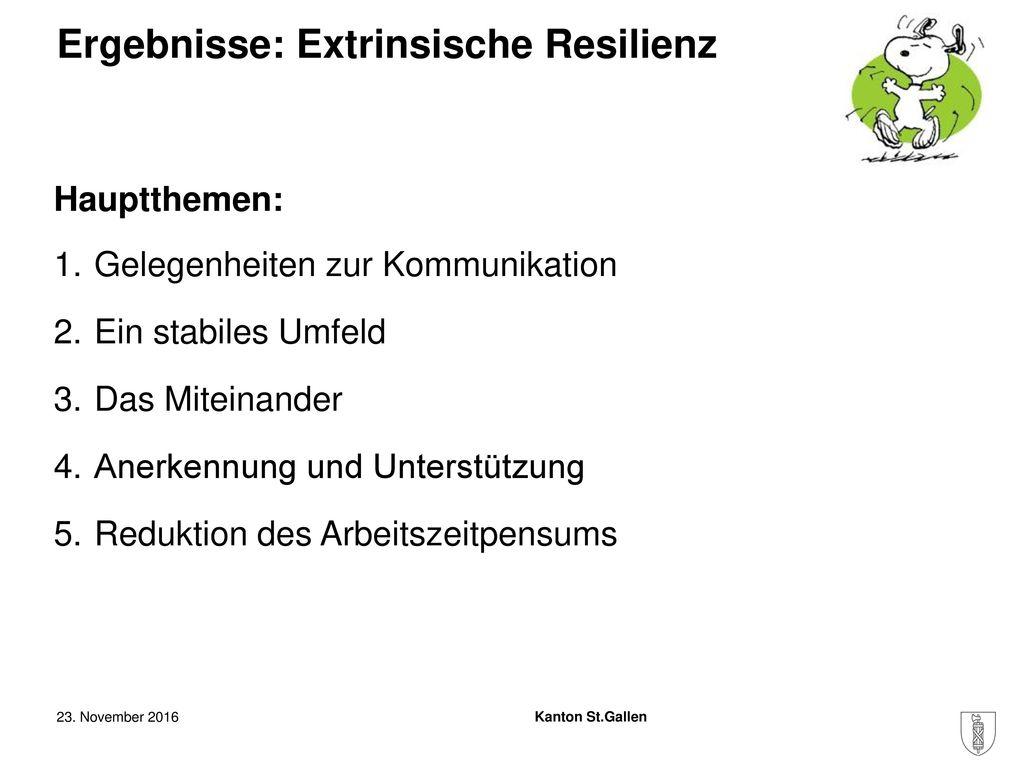 Ergebnisse: Extrinsische Resilienz