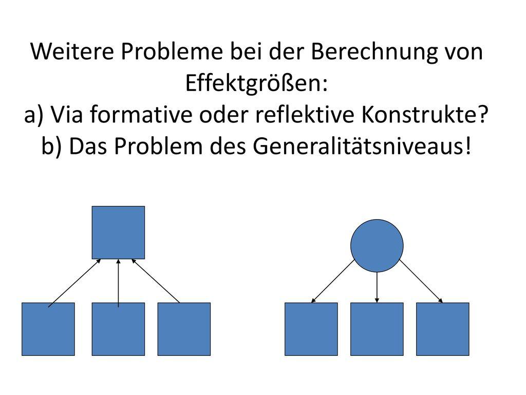 Weitere Probleme bei der Berechnung von Effektgrößen: a) Via formative oder reflektive Konstrukte.