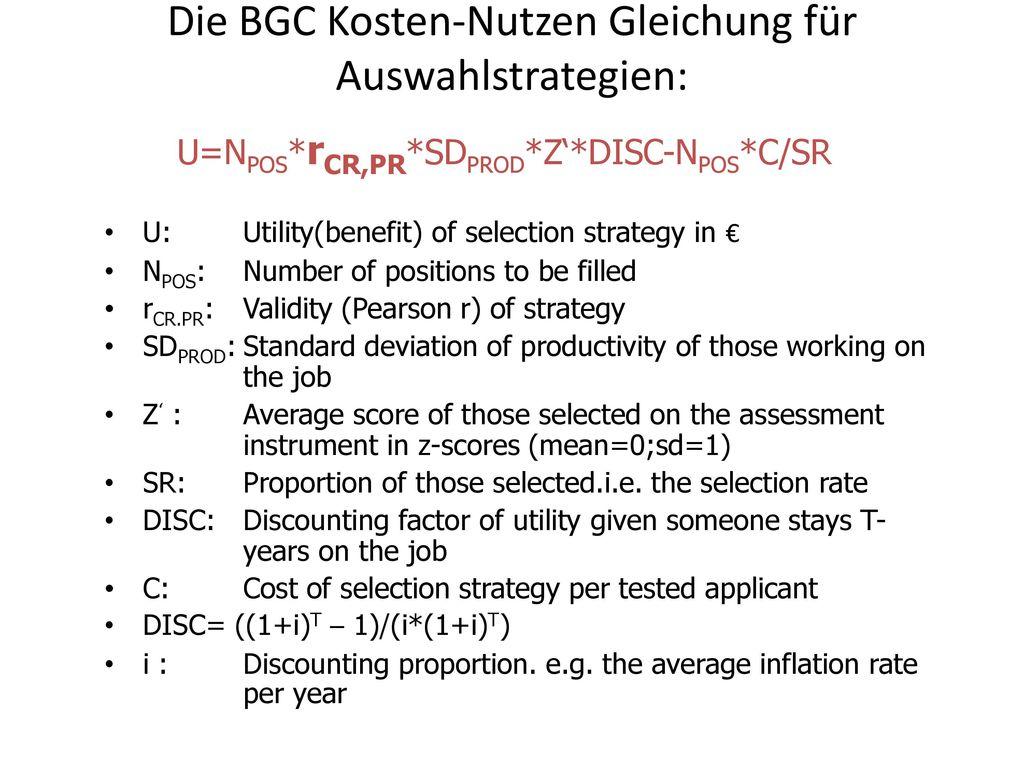 Die BGC Kosten-Nutzen Gleichung für Auswahlstrategien:
