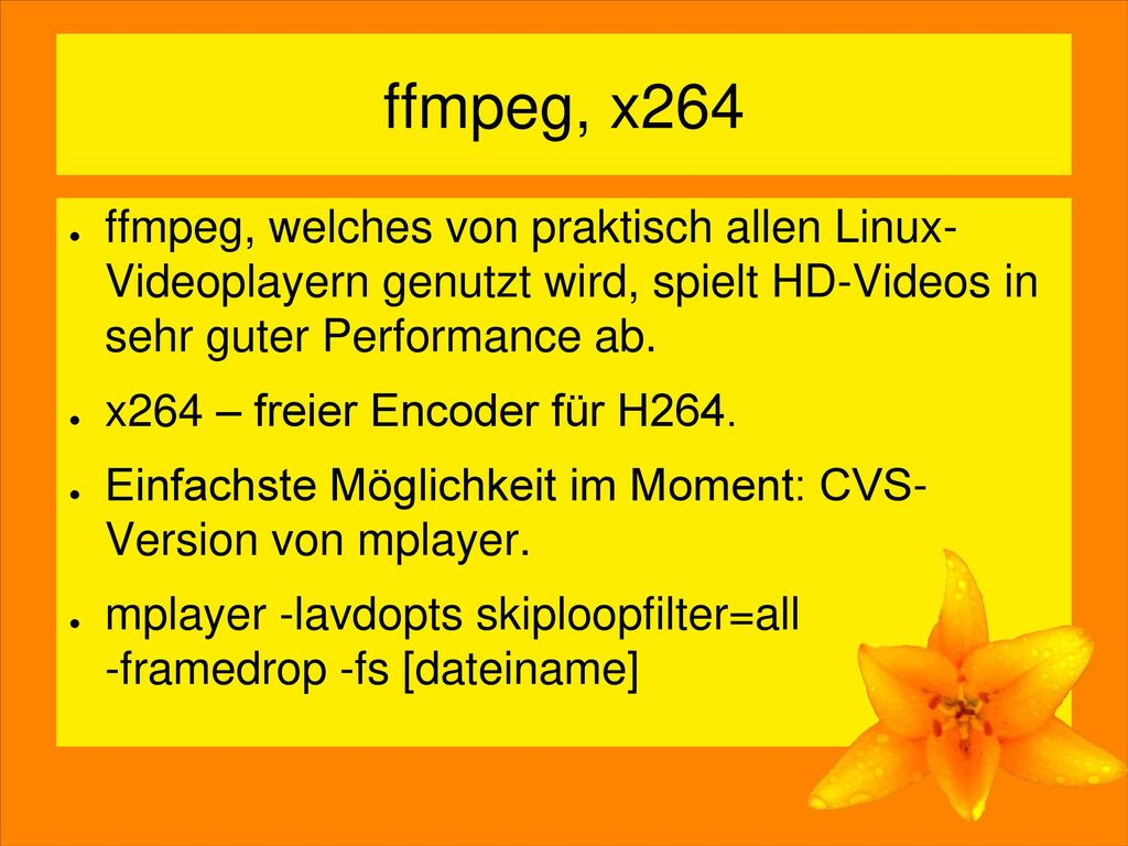 ffmpeg, x264 ffmpeg, welches von praktisch allen Linux- Videoplayern genutzt wird, spielt HD-Videos in sehr guter Performance ab.
