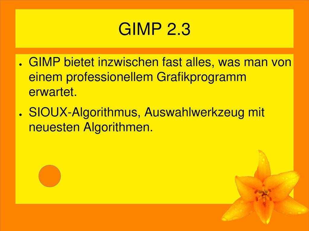 GIMP 2.3 GIMP bietet inzwischen fast alles, was man von einem professionellem Grafikprogramm erwartet.