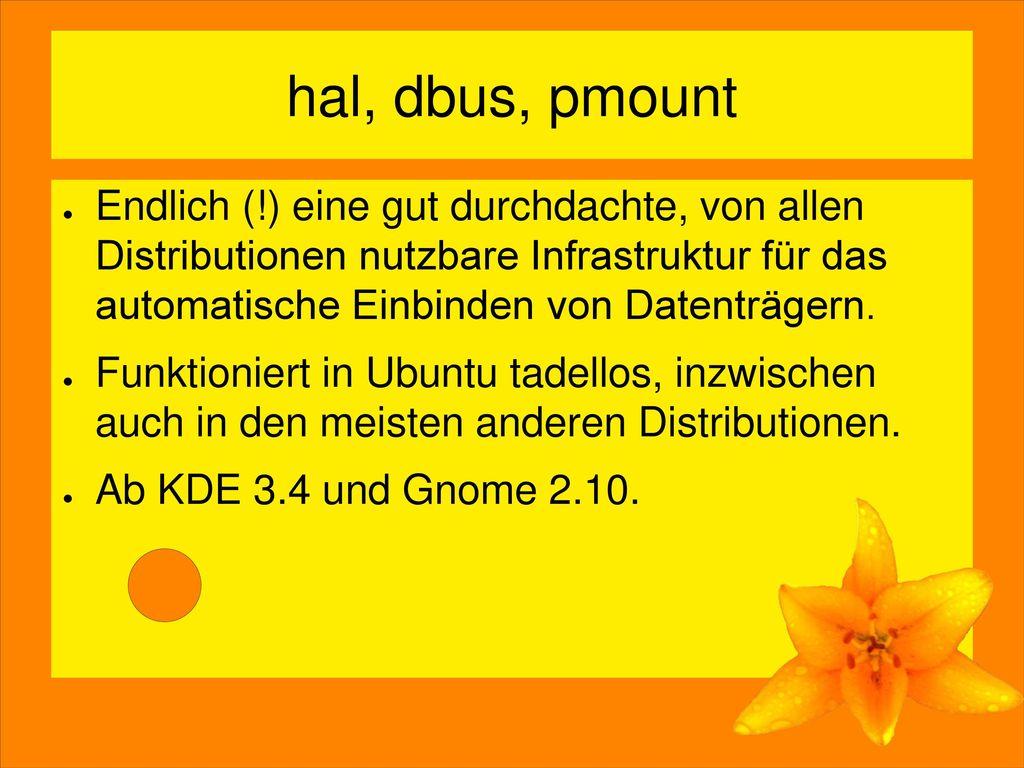 hal, dbus, pmount