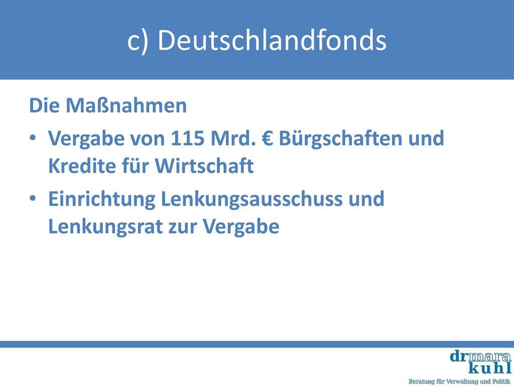 c) Deutschlandfonds Die Maßnahmen