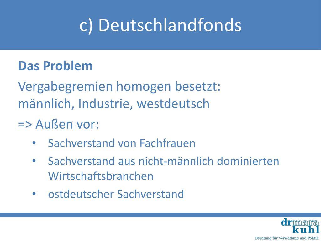 c) Deutschlandfonds Das Problem