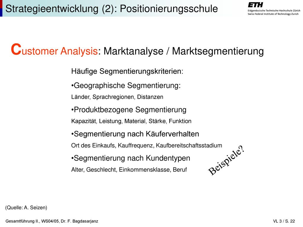 Customer Analysis: Marktanalyse / Marktsegmentierung