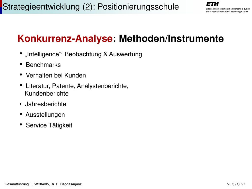 Konkurrenz-Analyse: Methoden/Instrumente