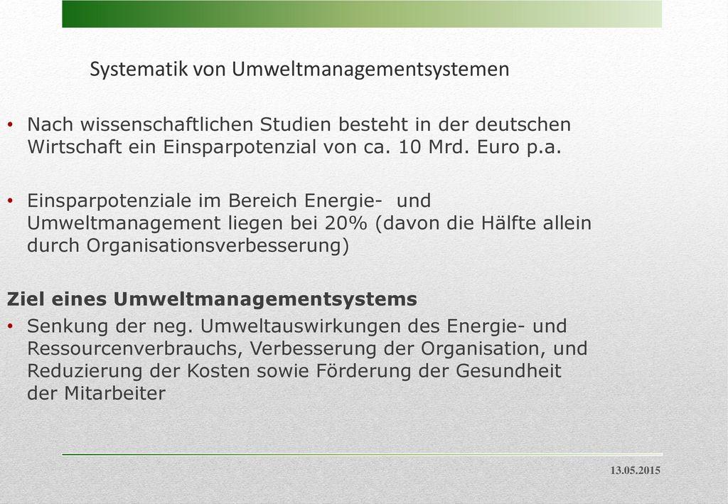 Systematik von Umweltmanagementsystemen