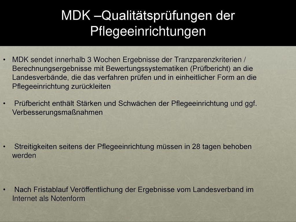 MDK –Qualitätsprüfungen der Pflegeeinrichtungen