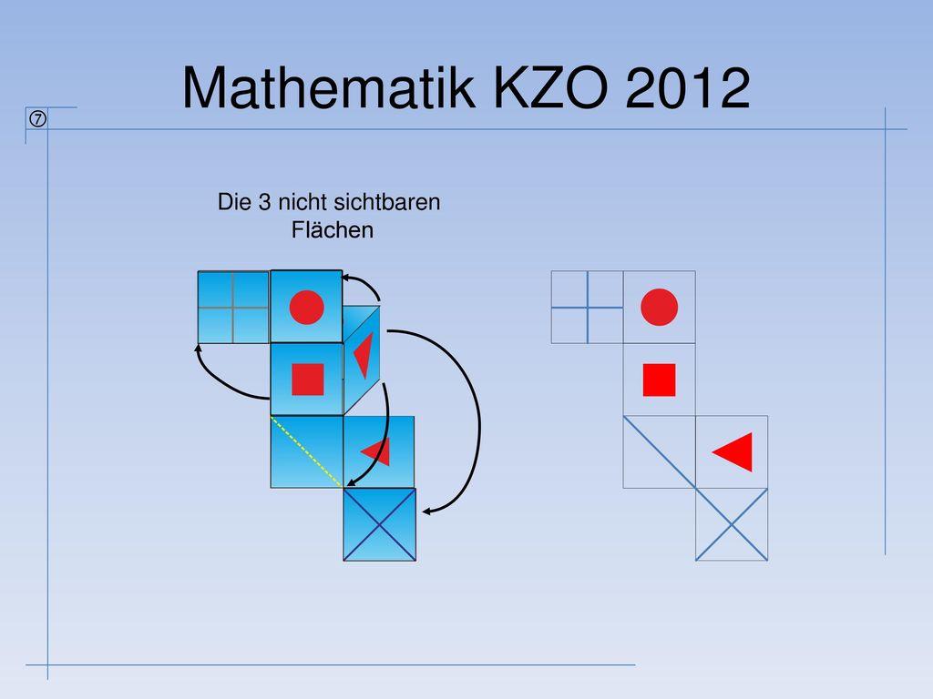 Mathematik KZO 2012  Die 3 nicht sichtbaren Flächen