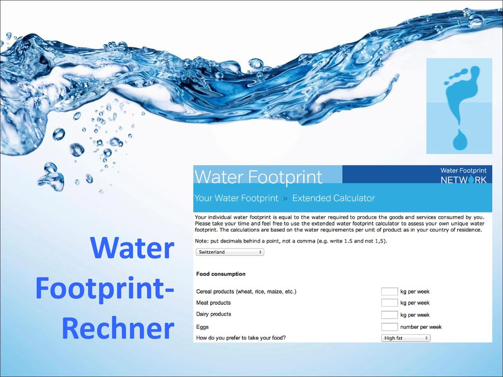 Water Footprint- Rechner