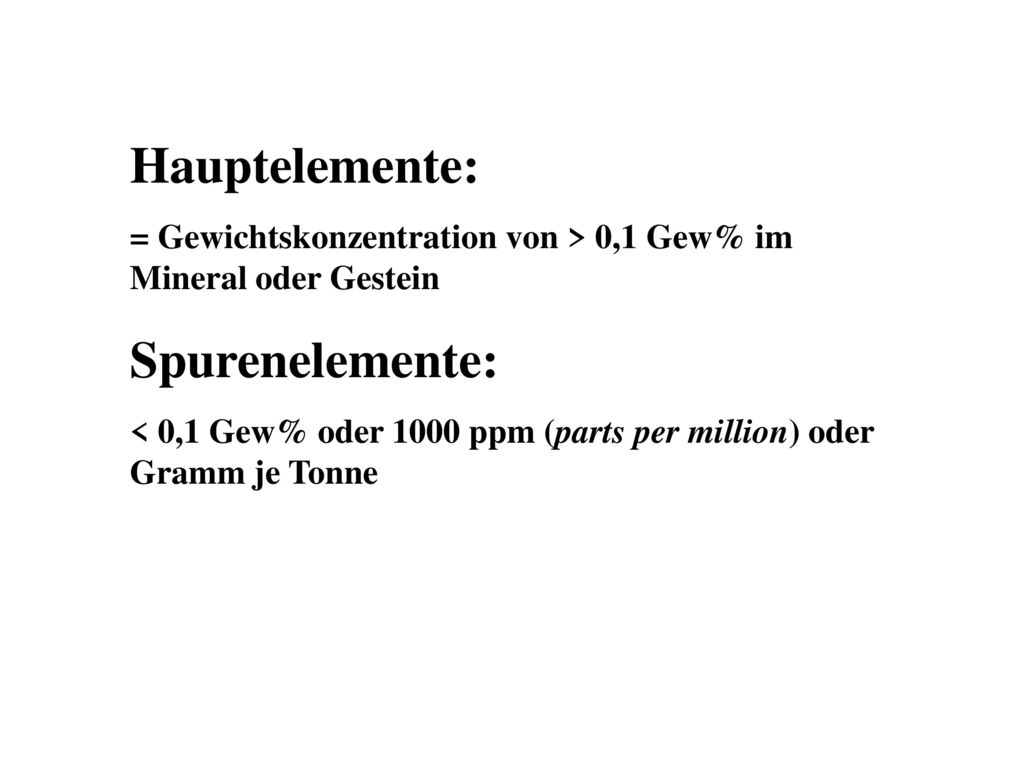 Hauptelemente: Spurenelemente: