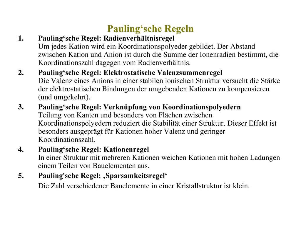 Pauling'sche Regeln