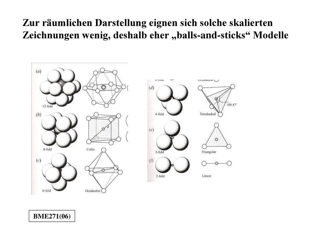 """Zur räumlichen Darstellung eignen sich solche skalierten Zeichnungen wenig, deshalb eher """"balls-and-sticks Modelle"""