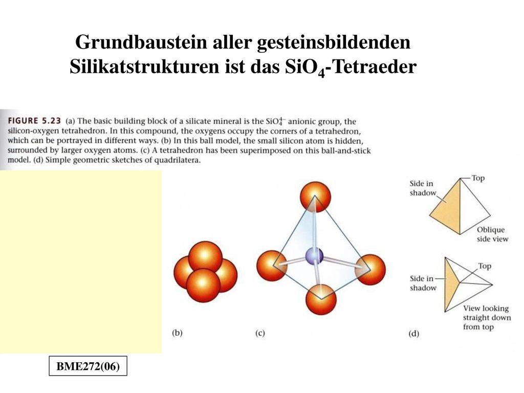Grundbaustein aller gesteinsbildenden Silikatstrukturen ist das SiO4-Tetraeder