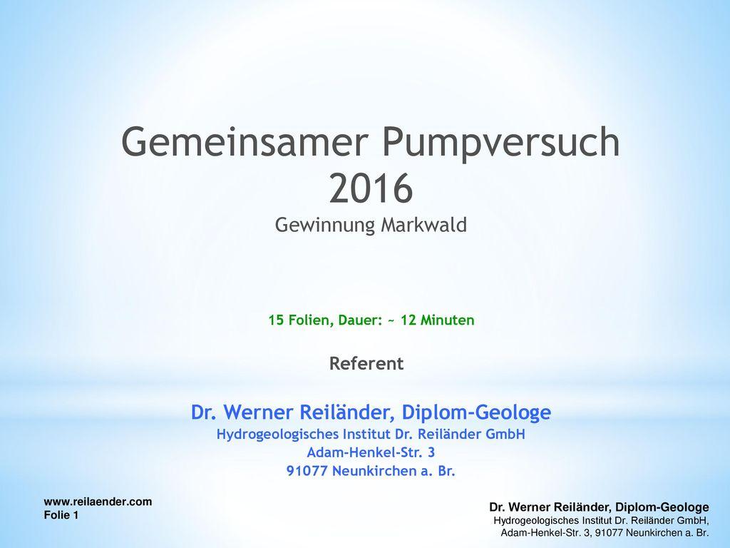 Gemeinsamer Pumpversuch 2016
