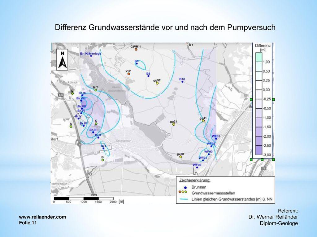 Differenz Grundwasserstände vor und nach dem Pumpversuch
