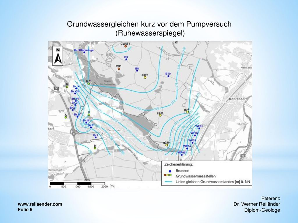 Grundwassergleichen kurz vor dem Pumpversuch (Ruhewasserspiegel)