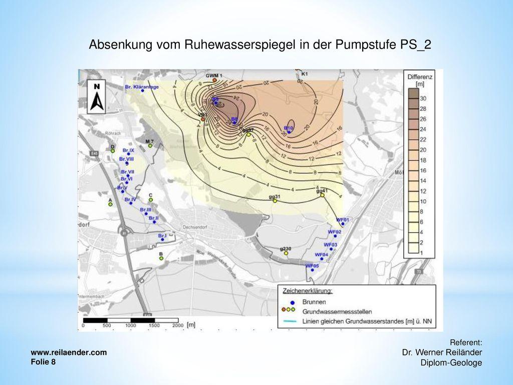 Absenkung vom Ruhewasserspiegel in der Pumpstufe PS_2