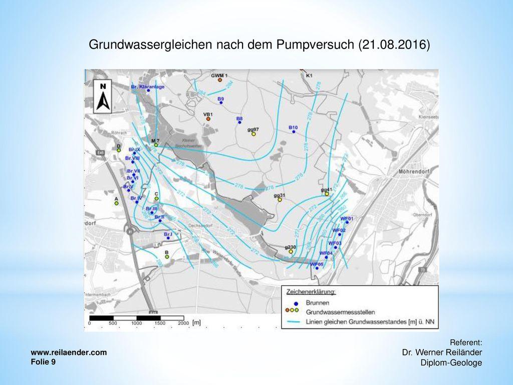 Grundwassergleichen nach dem Pumpversuch (21.08.2016)