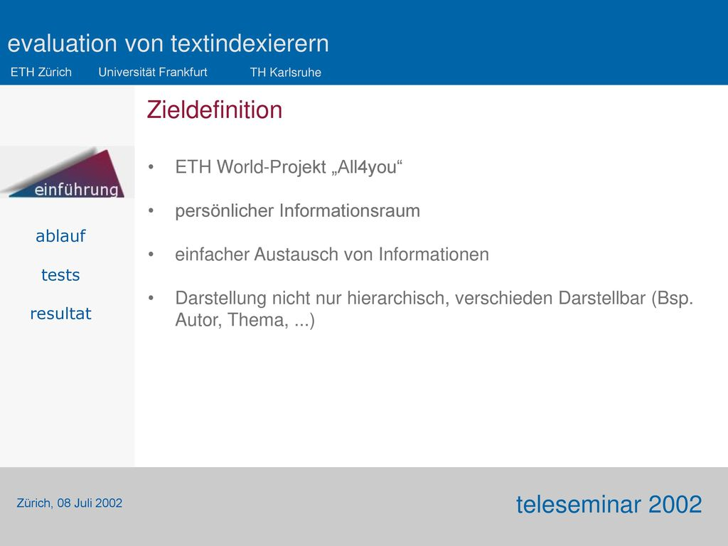 "Zieldefinition ETH World-Projekt ""All4you"