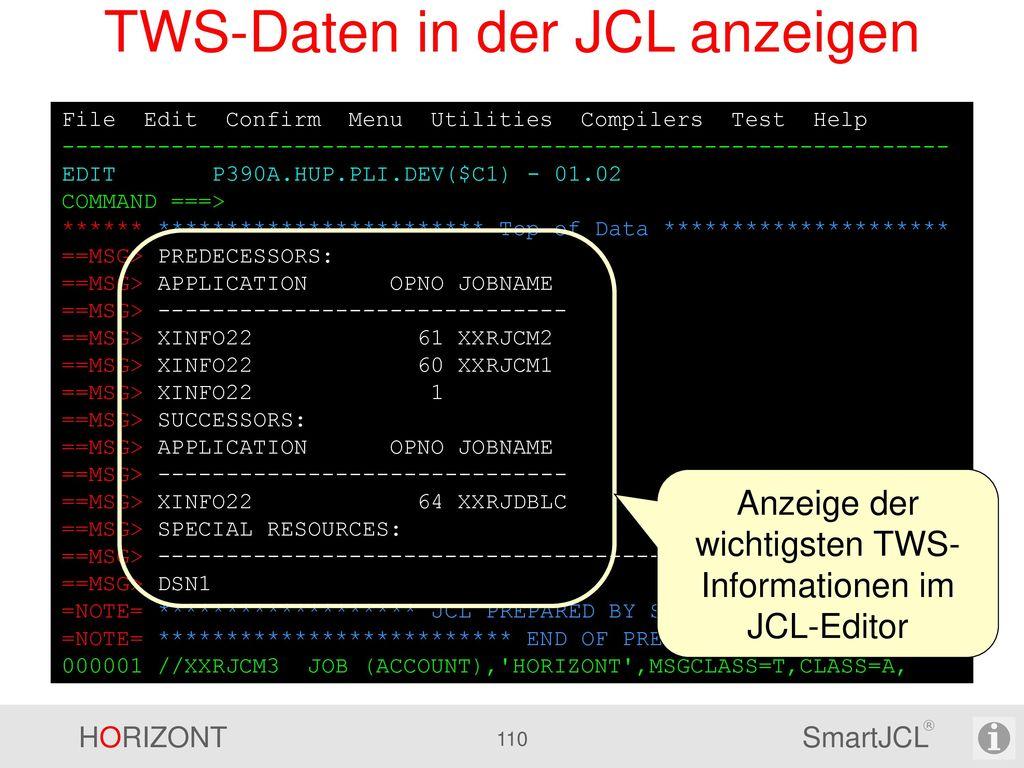 Reformat Die Reformatfunktion von SmartJCL kann über Parameter an kundenspezifische Standards angepasst werden, u.a.