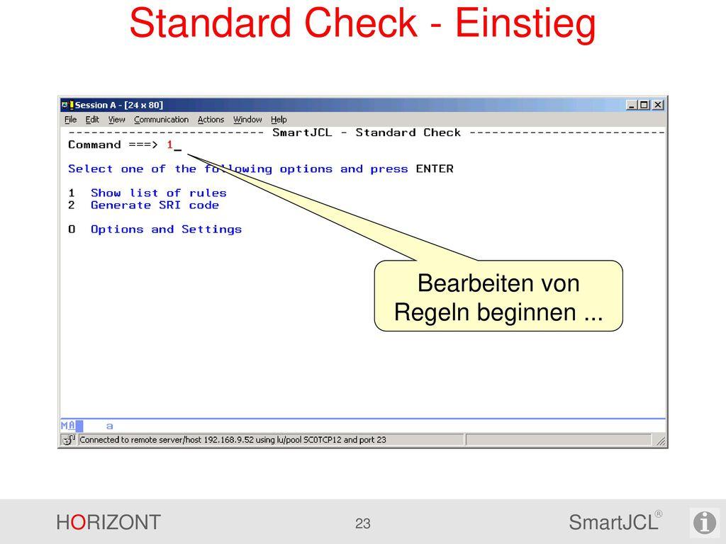 Standard Check - Einstieg