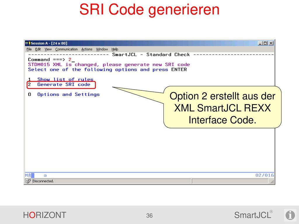 Option 2 erstellt aus der XML SmartJCL REXX Interface Code.