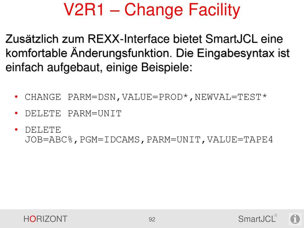 V2R1 – Remote Check EDIT P390A.OPG.CNTL(TESTJCK) - 01.00. Command ===> JCK SRV=CPU1 Scroll ===> CSR.