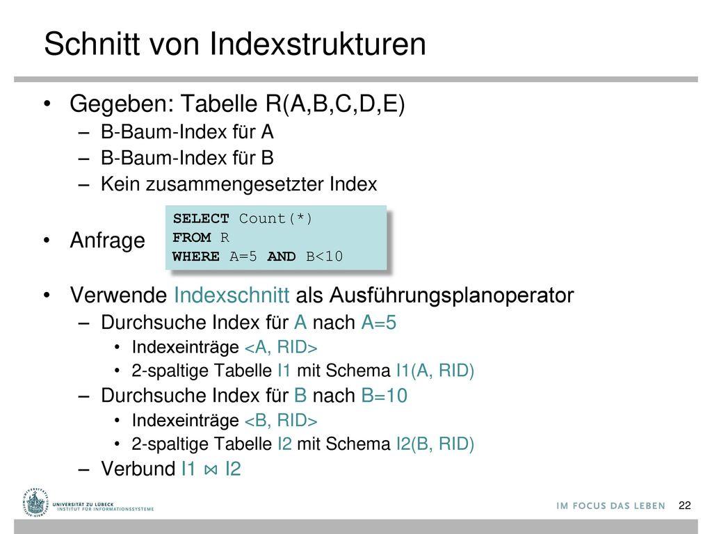 Schnitt von Indexstrukturen