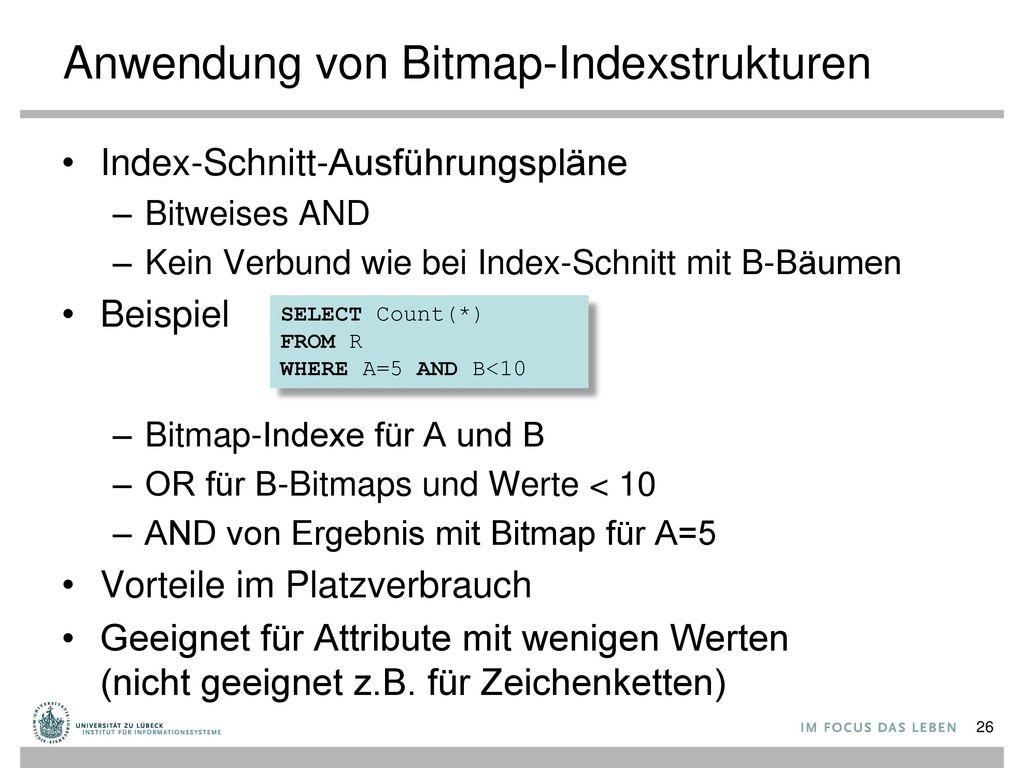 Anwendung von Bitmap-Indexstrukturen