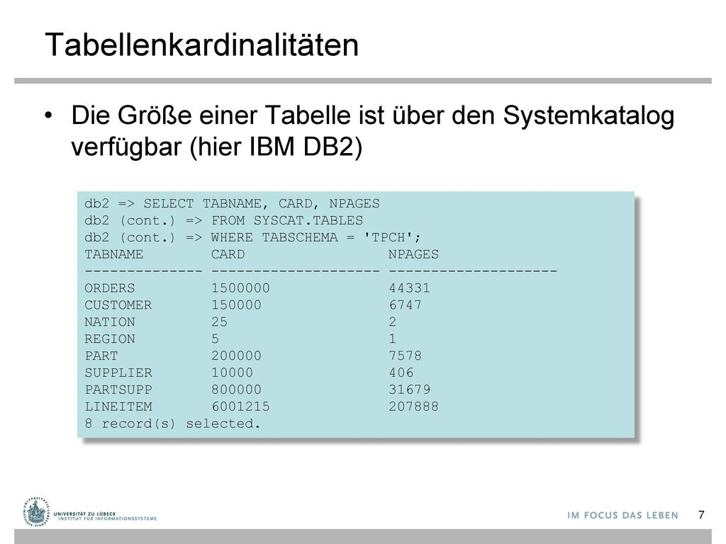 Tabellenkardinalitäten