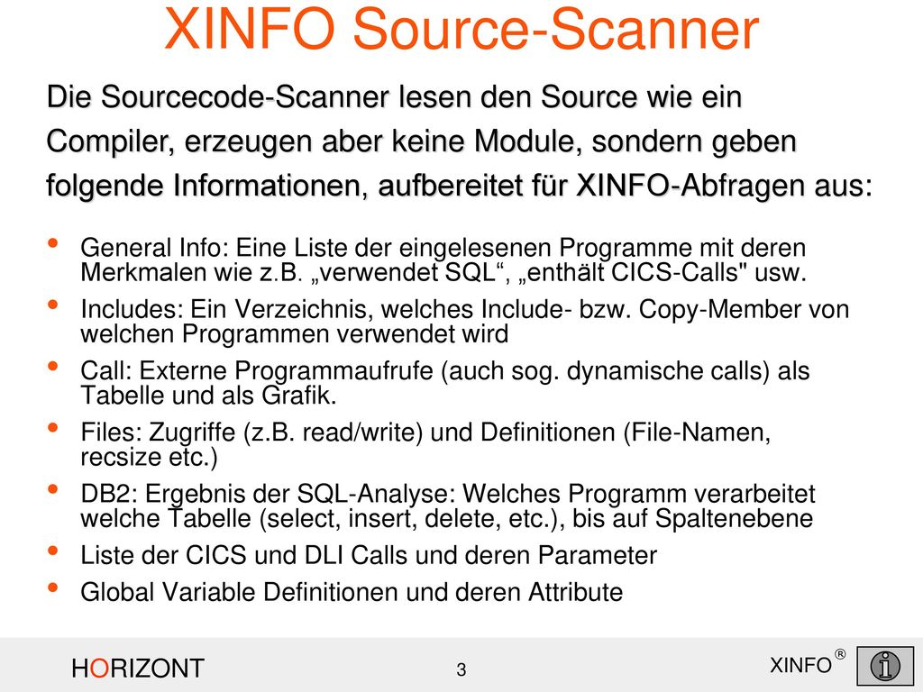 XINFO Source-Scanner