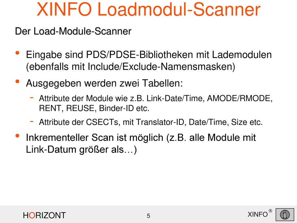 XINFO Loadmodul-Scanner