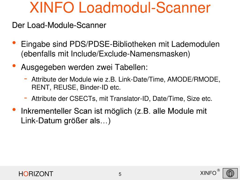 XINFO Loadmodul-Scanner