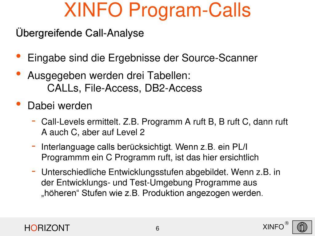 XINFO Program-Calls Übergreifende Call-Analyse