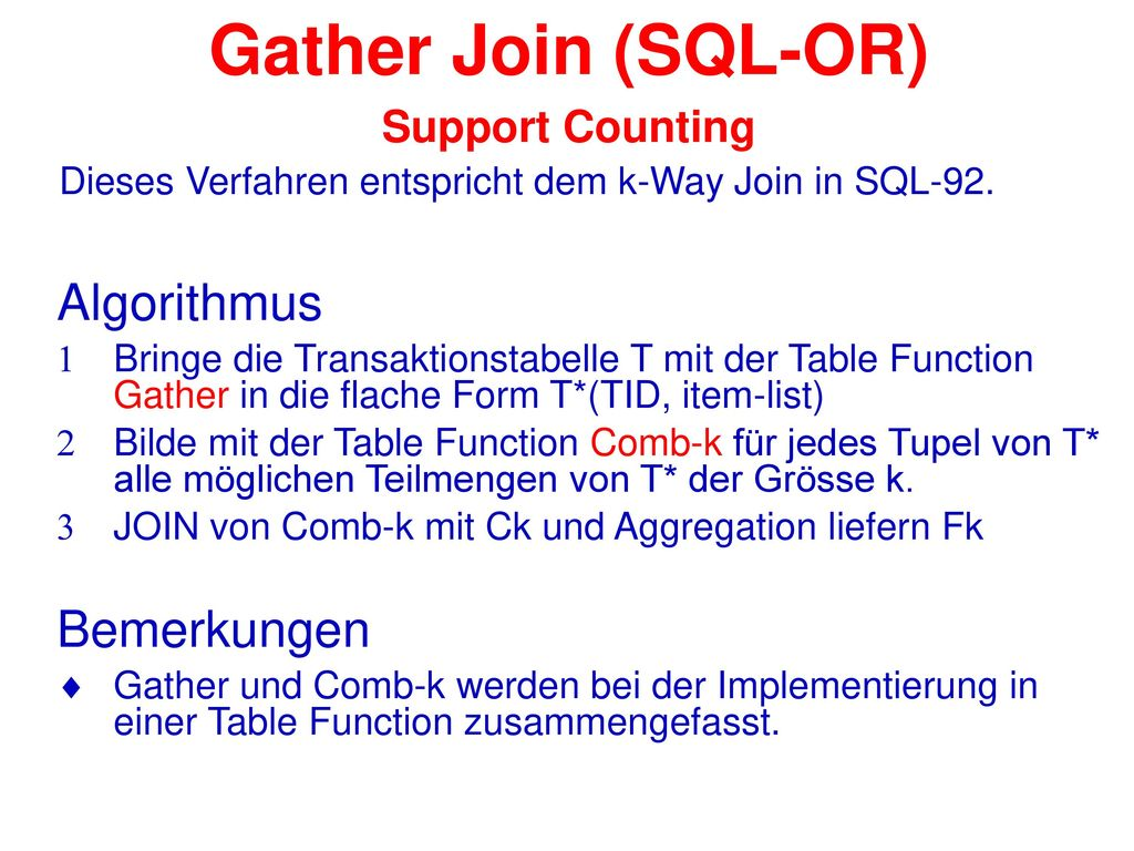 Gather Join (SQL-OR) Support Counting