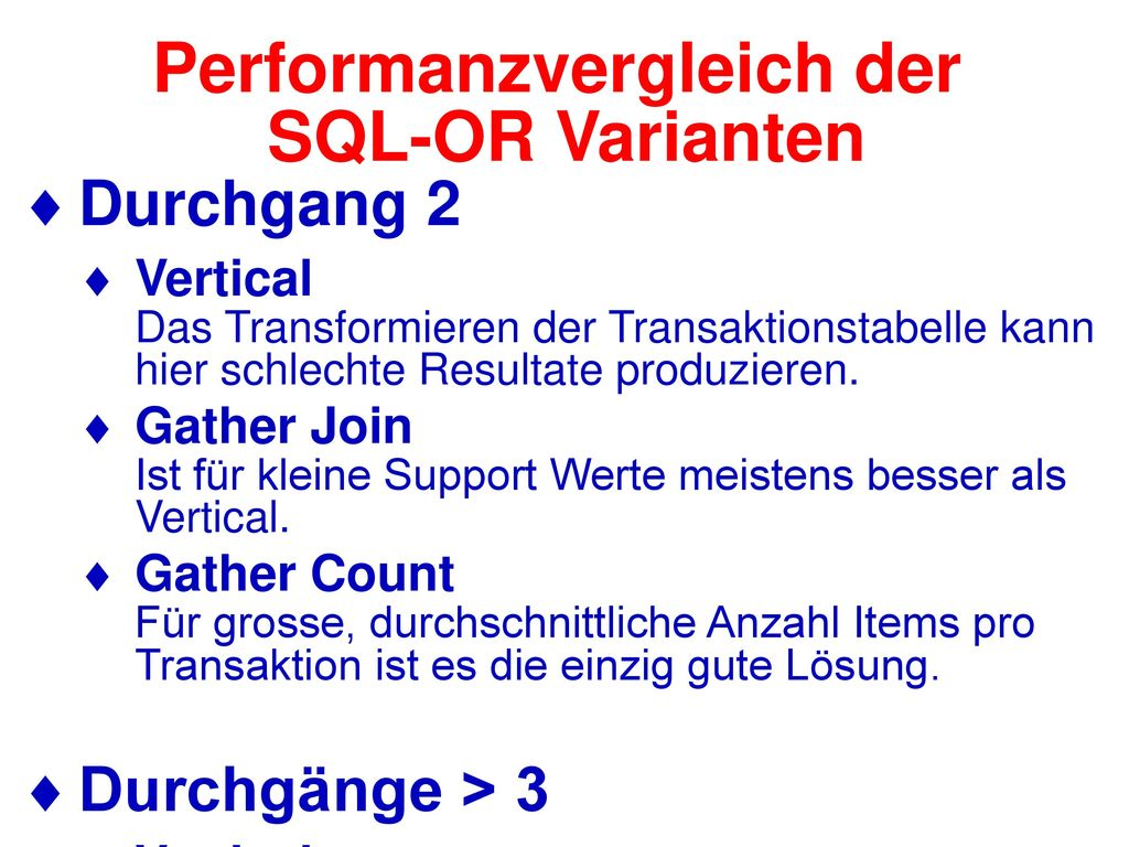Performanzvergleich der SQL-OR Varianten