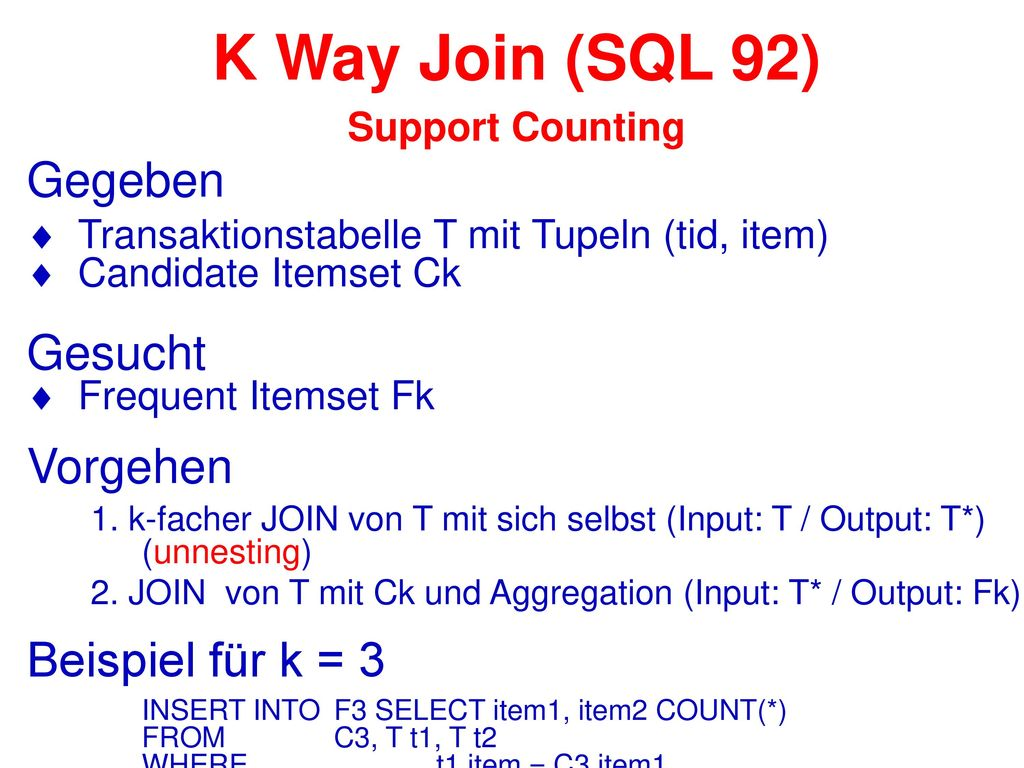 K Way Join (SQL 92) Support Counting