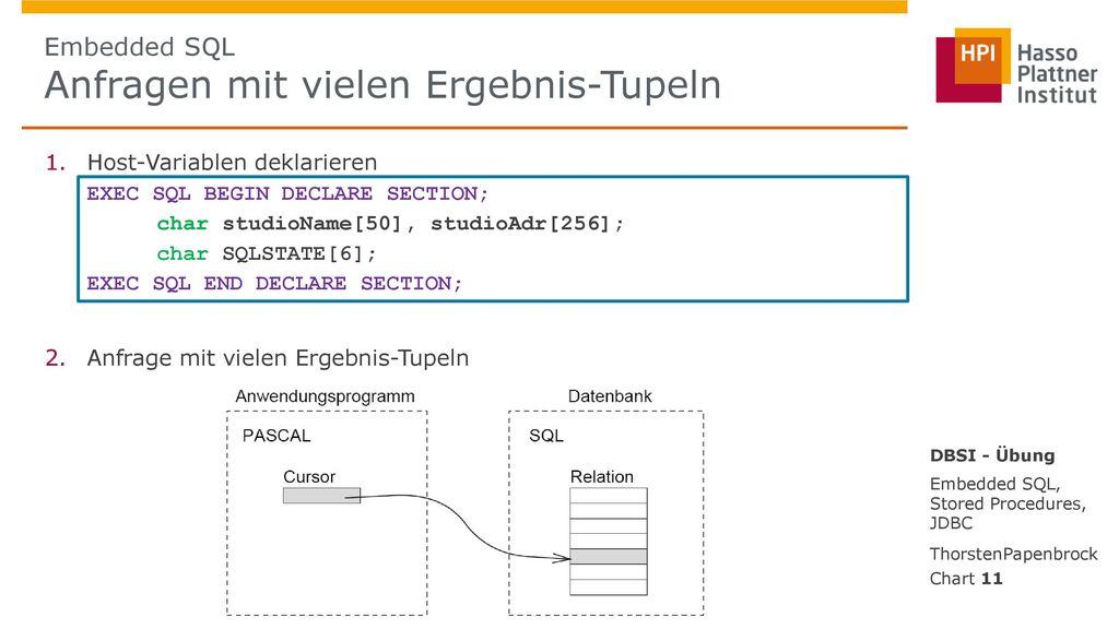 Embedded SQL Anfragen mit vielen Ergebnis-Tupeln