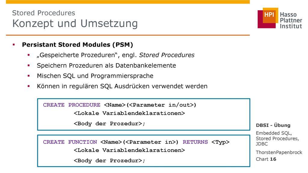 Stored Procedures Konzept und Umsetzung