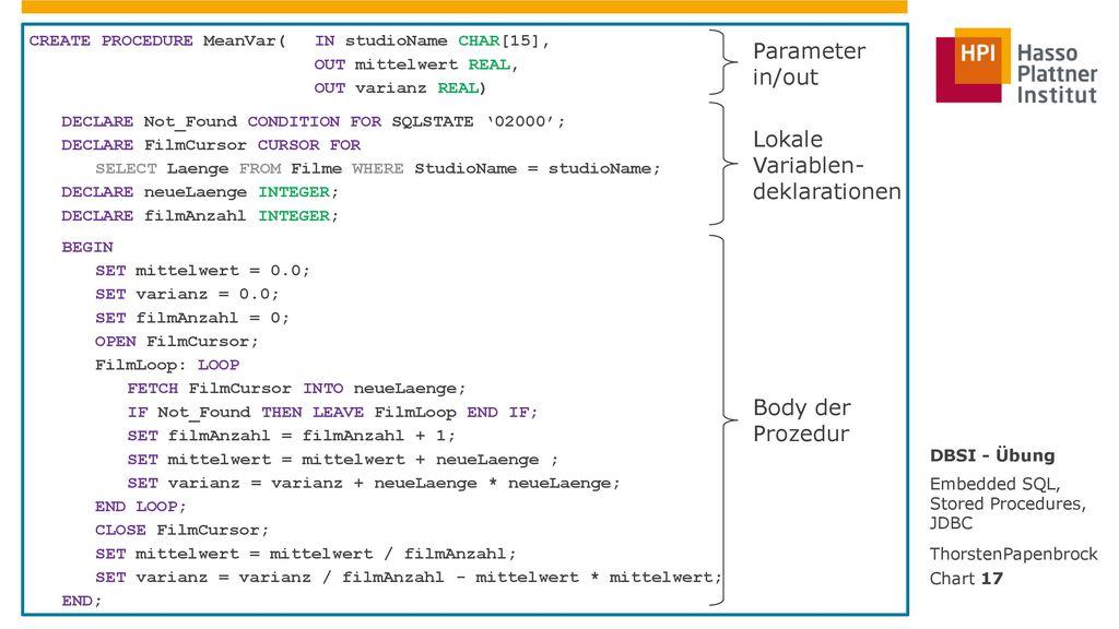 Parameter in/out Lokale Variablen- deklarationen Body der Prozedur