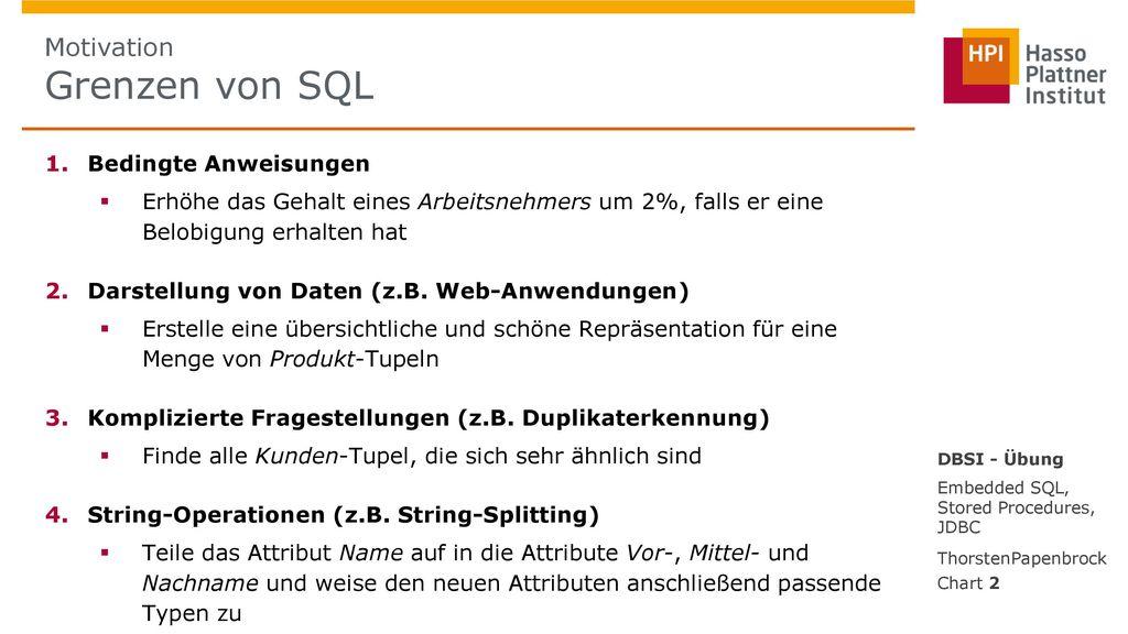 Motivation Grenzen von SQL