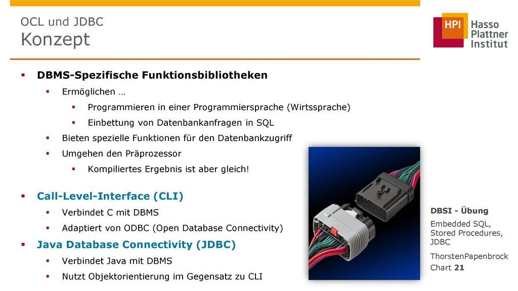 OCL und JDBC Konzept DBMS-Spezifische Funktionsbibliotheken