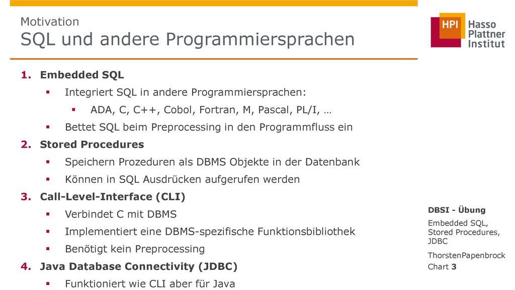 Motivation SQL und andere Programmiersprachen