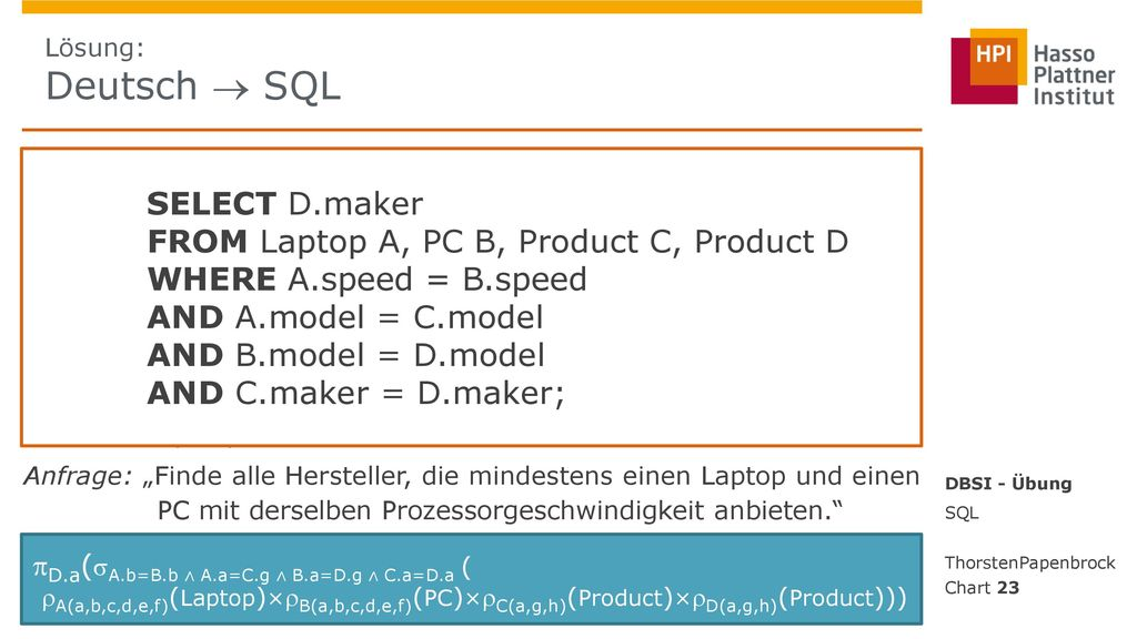 FROM Laptop A, PC B, Product C, Product D WHERE A.speed = B.speed