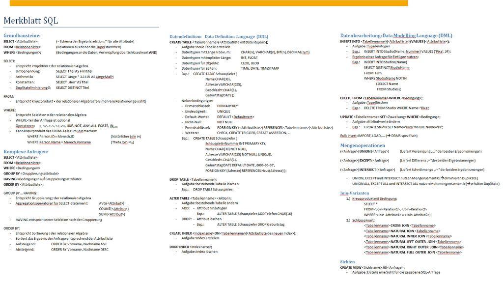 Übersicht SQL DBSI - Übung SQL Thorsten Papenbrock