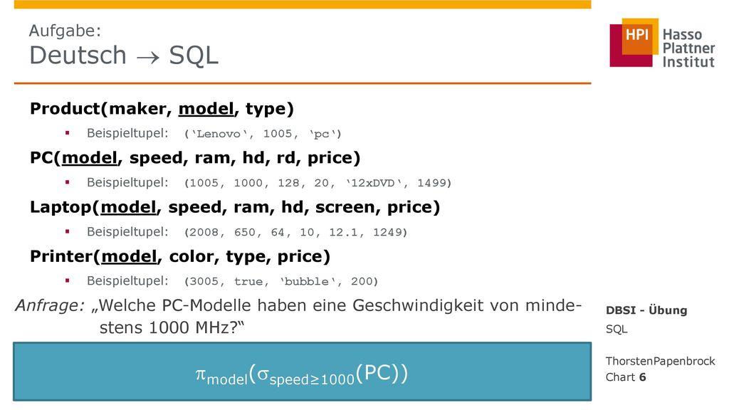 model(speed≥1000(PC)) Aufgabe: Deutsch  SQL